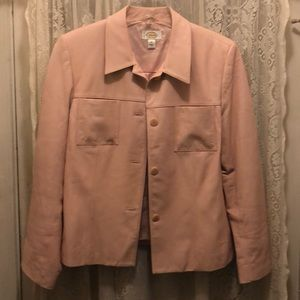 TALBOTS-PINK LEATHER JKT W/2 FRONT UPPER POCKETS